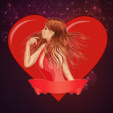 Girl with ribbon and big heart stock photography