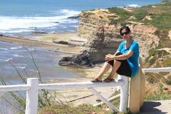 Girl and Ribeira d'Ilhas Stock Image