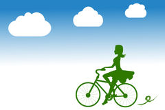 Girl Ride Bicycle Stock Photo