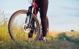 Girl ride on a bike on the field at the summer time. Royalty Free Stock Images