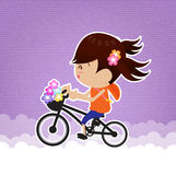 Girl Ride bike Stock Photo