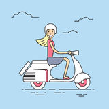 Girl Ride Electrical Scooter Retro Electric Transport Royalty Free Stock Photography