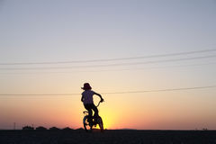 The girl rides bicycle. The little girl rides bicycle on sunset royalty free stock images