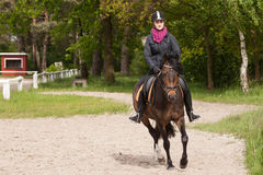 Girl rides her pony. Girl rides her brown pony (New-Forest-Pony Stock Photography