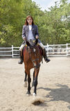 The girl rides a horse. In the arena Royalty Free Stock Photography