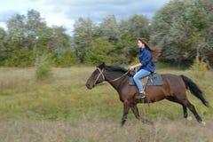Girl rides. On horseback, summer, Siberia royalty free stock photography
