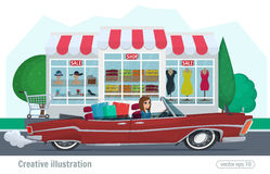 Girl rides on a red convertible with shopping car driving on road. Vector illustration cartoon female and retro car shopping store Stock Images