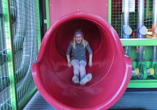 A Girl Rides a Slide at the Discovery Children`s Museum, Las Veg Royalty Free Stock Photography