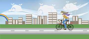 Girl Riding Bicycle. Illustration of a girl riding bicycle in a city of book buildings Royalty Free Stock Images