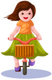 Girl riding a bicycle. Illustration  of isolated happy girl riding a bicycle Royalty Free Stock Image