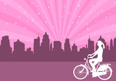 Girl riding bicycle  on the abstract city background - vector Stock Image