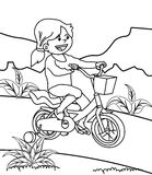 Girl riding bicycle coloring page Royalty Free Stock Images