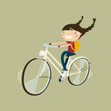 Girl riding a bicycle. Cute cheerfull girl riding a bicycle isolated cartoon character Royalty Free Stock Photography