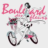 Girl riding bicycle with flowers in basket. Vector illustration of a girl riding bicycle. Poster with girl riding bicycle, flowers and hearts in basket, modern Stock Photography
