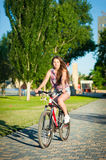 Girl riding on bicycle Royalty Free Stock Photo