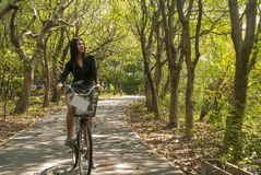 The girl is riding a bicycle playing in the garden stock photo