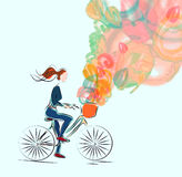 Girl, riding a bicycle. On spring watercolor background royalty free illustration
