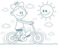 Girl riding a bicycle. Vector illustration of a girl riding a bicycle Royalty Free Stock Image