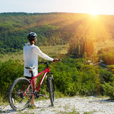 Girl riding a bicycle Royalty Free Stock Images