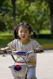 Girl riding bike. Picture of a little chinese girl riding bike in park in a sunny autumn day Stock Photos