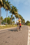 Girl riding a bike. Along palms Stock Image