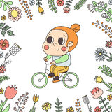 Girl riding a bike in the floral frame vector illustration. Naive style. Royalty Free Stock Images