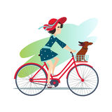 Girl is Riding Bike on Spring Field. Illustration Stock Image