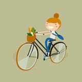 Girl riding bike with vegetarian food. girl riding from a market. Vector illustration Royalty Free Stock Image