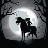 Girl riding Black horse in the moonlight. EPS 10 vector stock illustration Royalty Free Stock Images