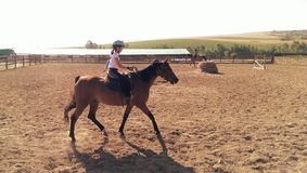 Girl riding chestnut pony. Young girl riding chestnut pony in paddock with stables in distance Royalty Free Stock Image