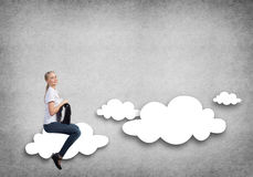 Girl riding cloud Royalty Free Stock Photo