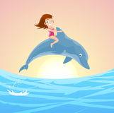Girl riding dolphin. Little Girl Riding on the Jumping Dolphin's Back, with brunette little girl with pink swimming suit and lovely blue dolphin jumping out of Royalty Free Stock Image