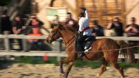 Girl riding galloping horse.