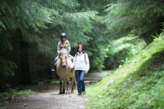 Girl riding a horse Royalty Free Stock Photography