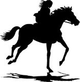 Girl riding a horse. Silhouette illustration of a girl riding a horse Stock Photos