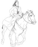 Girl riding a horse. Series of Wild West. Vector drawing Royalty Free Stock Photos