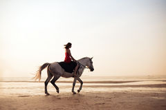 Girl riding a horse on the background of the sea Royalty Free Stock Images