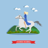 Girl riding a horse, flat design. Blonde girl in blue dress, holding stirrup, riding a white horse bareback. Vector illustration in flat design. Side view Stock Photography