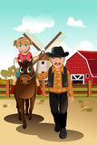 Girl riding horse with grandfather. A vector illustration of a little girl riding a horse with her grandfather Stock Image