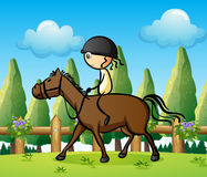 A girl riding on a horse. Illustration of a girl riding on a horse Stock Images