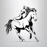 Girl riding a horse.  illustration. Girl riding a horse on a gray background Royalty Free Stock Images