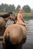 Girl riding a horse. On nature Royalty Free Stock Photos