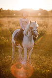 Girl riding a horse. On nature Royalty Free Stock Image