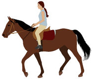 Girl riding a horse. Vector illustration Stock Photo