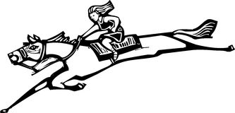 Girl Riding Horse. Woodcut style image of a girl riding a horse Royalty Free Stock Photography
