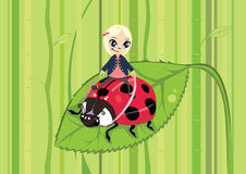 Girl riding on a ladybug. Cartoon of a girl riding on a ladybug Royalty Free Stock Photos