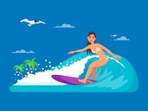 Girl riding on ocean wave, vector illustration in flat style Stock Photography
