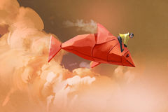 Girl riding on the origami paper red fish. In the clouds,illustration painting Stock Image
