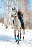 Girl riding on pale horse sunny winter Royalty Free Stock Image