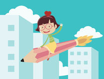 Girl riding the pencil rocket. And flying over the city Stock Photo